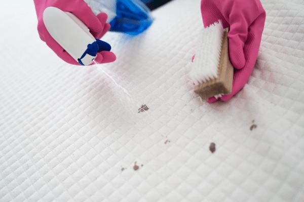 ניקוי מזרון עם חומר ומברשת